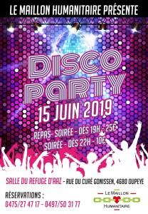 Affiche disco Maillon Humanitaire 15 juin